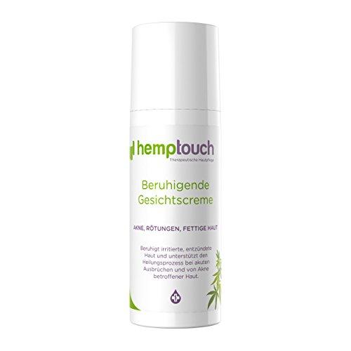 Hemptouch - biologische, beruhigende Hanf-Gesichtscreme, ausgleichende Formel für zu Akne oder Unreinheiten neigende fettige oder Mischhaut. Formel mit Hanf-Öl und Hanfblüten-Hydrolat, 50 ml