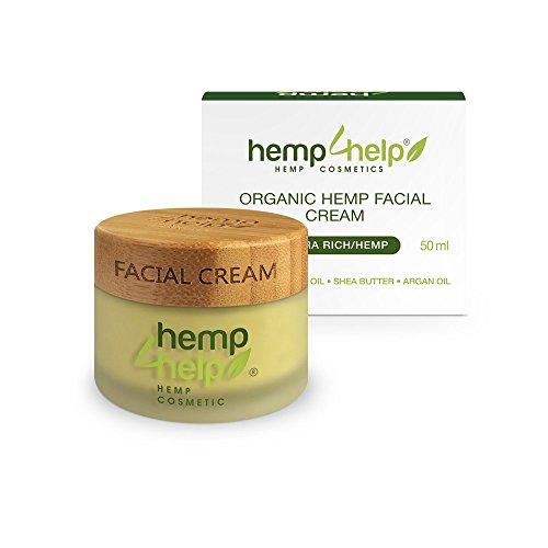 FEUCHTIGKEITS-CREME+NACHT-PFLEGE von Hemp 4 Help:BIO Hanf-Öl,Hanf Extrakt,Jojoba-Öl,Arganöl,Shea-Butter,Vitamin-E.BIO GESICHTS-CREME für TROCKENE-SENSIBLE Haut sowie FETTIGE-ENTZÜNDLICHE Haut 50 ml
