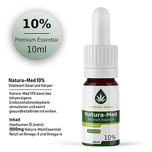 Natura-Med 10% Premium Essential | 10ml - CB1 und CB2 Aktivator (10%) CBD (G) Hanf Öl Tropfen mit Extrakt (10%)